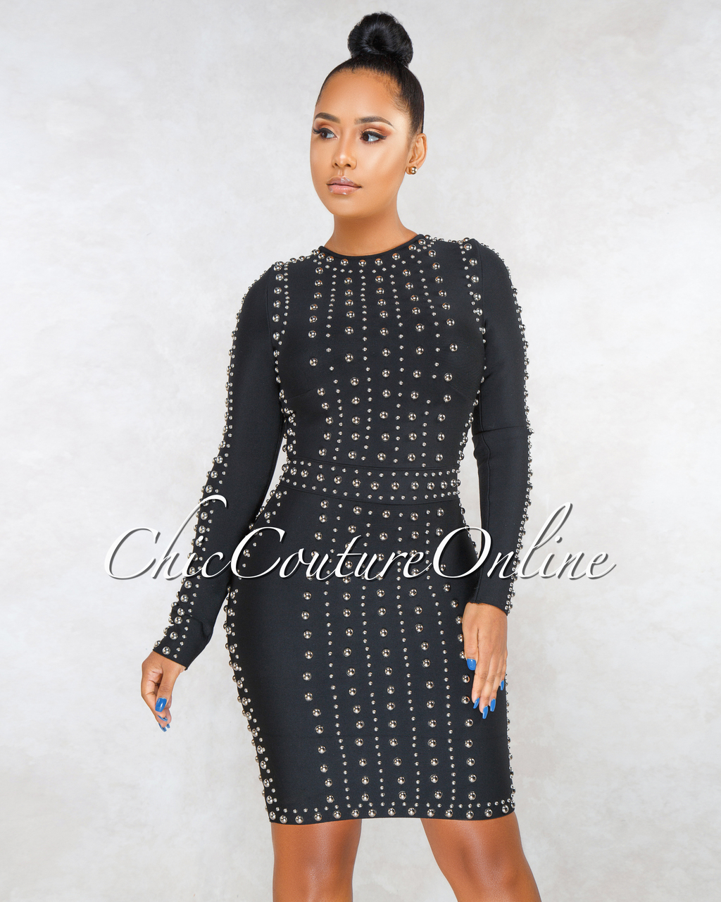 Antigona Black Silver Studs Long Sleeves Bandage Dress