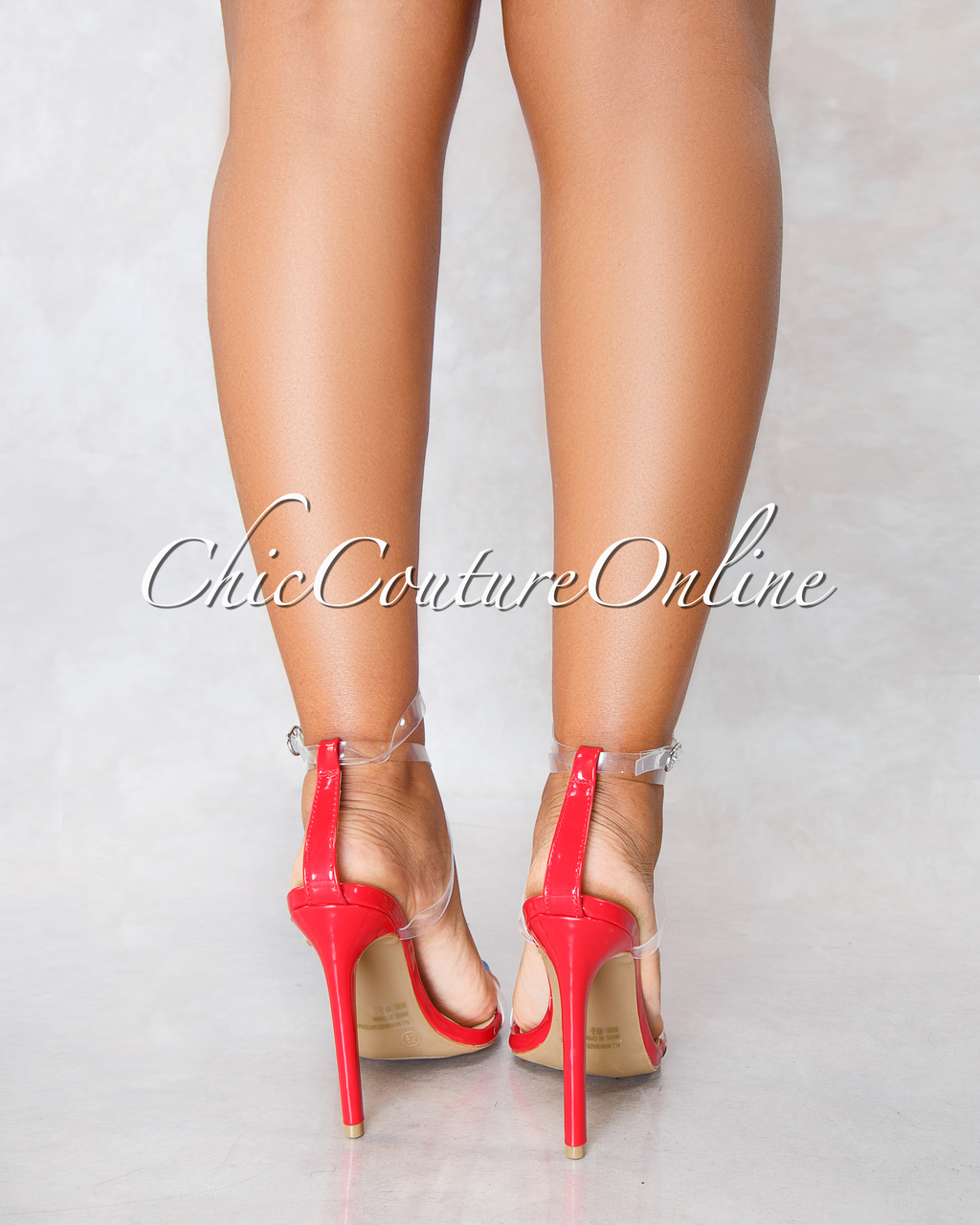 Carmy Red Clear Strap High Heels