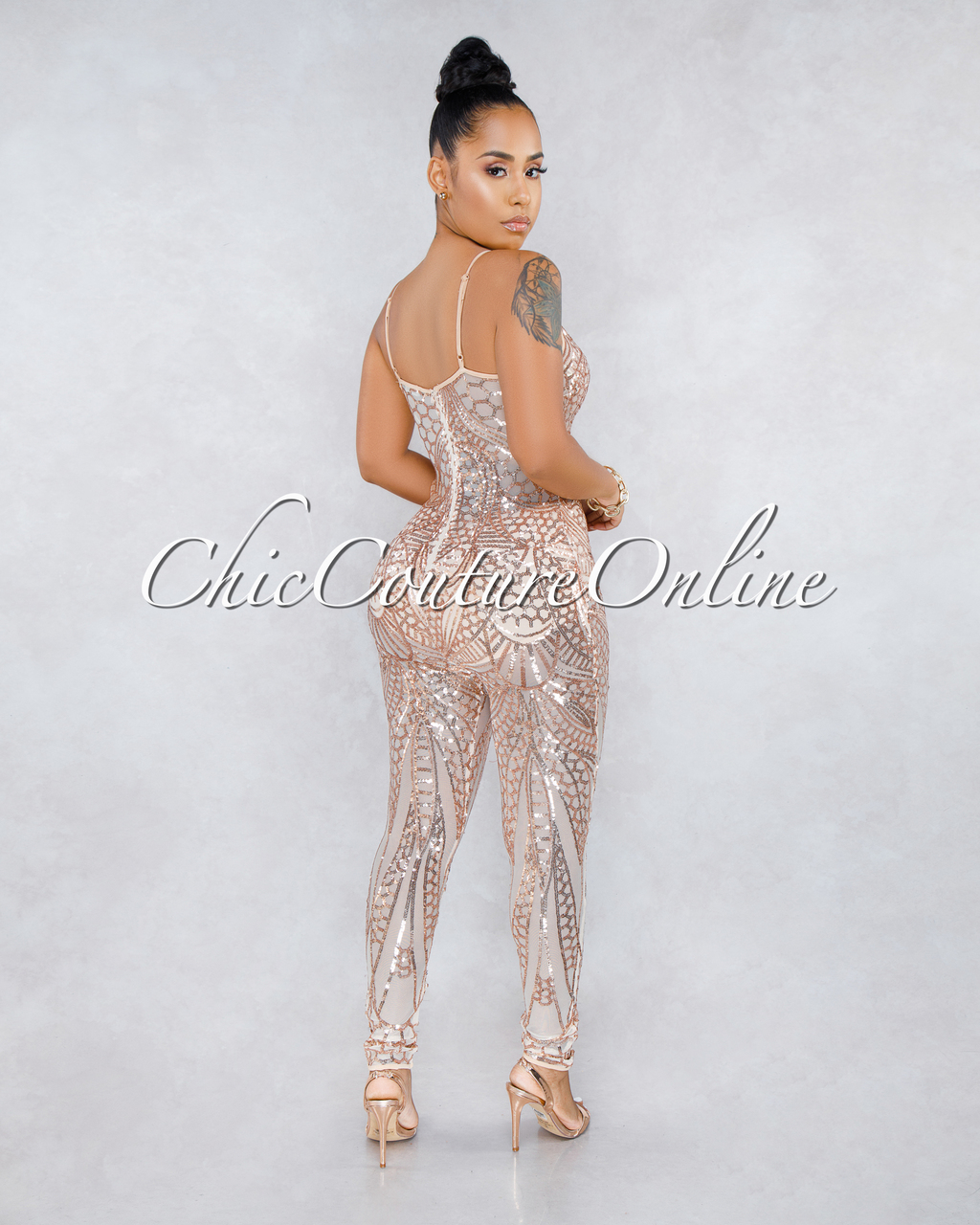 Kyra Nude Rose Gold Sequins Sheer Mesh Jumpsuit