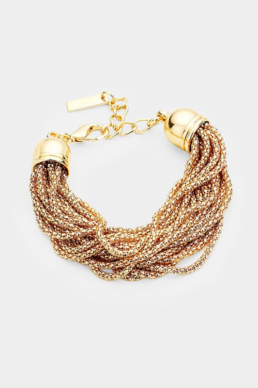 Sheena Multi Strand Chain Metal Cap Bracelet