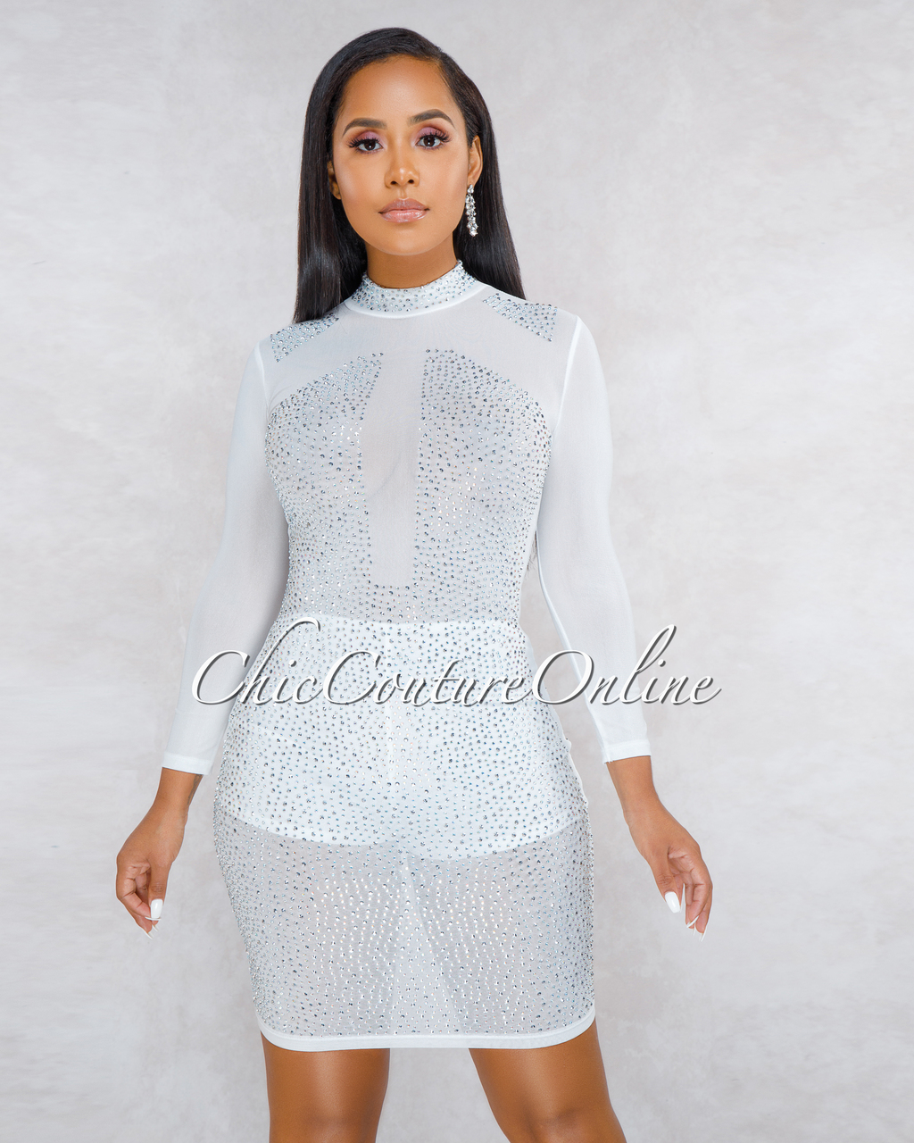 Mirabelle White Iridescent Rhinestones Sheer Dress