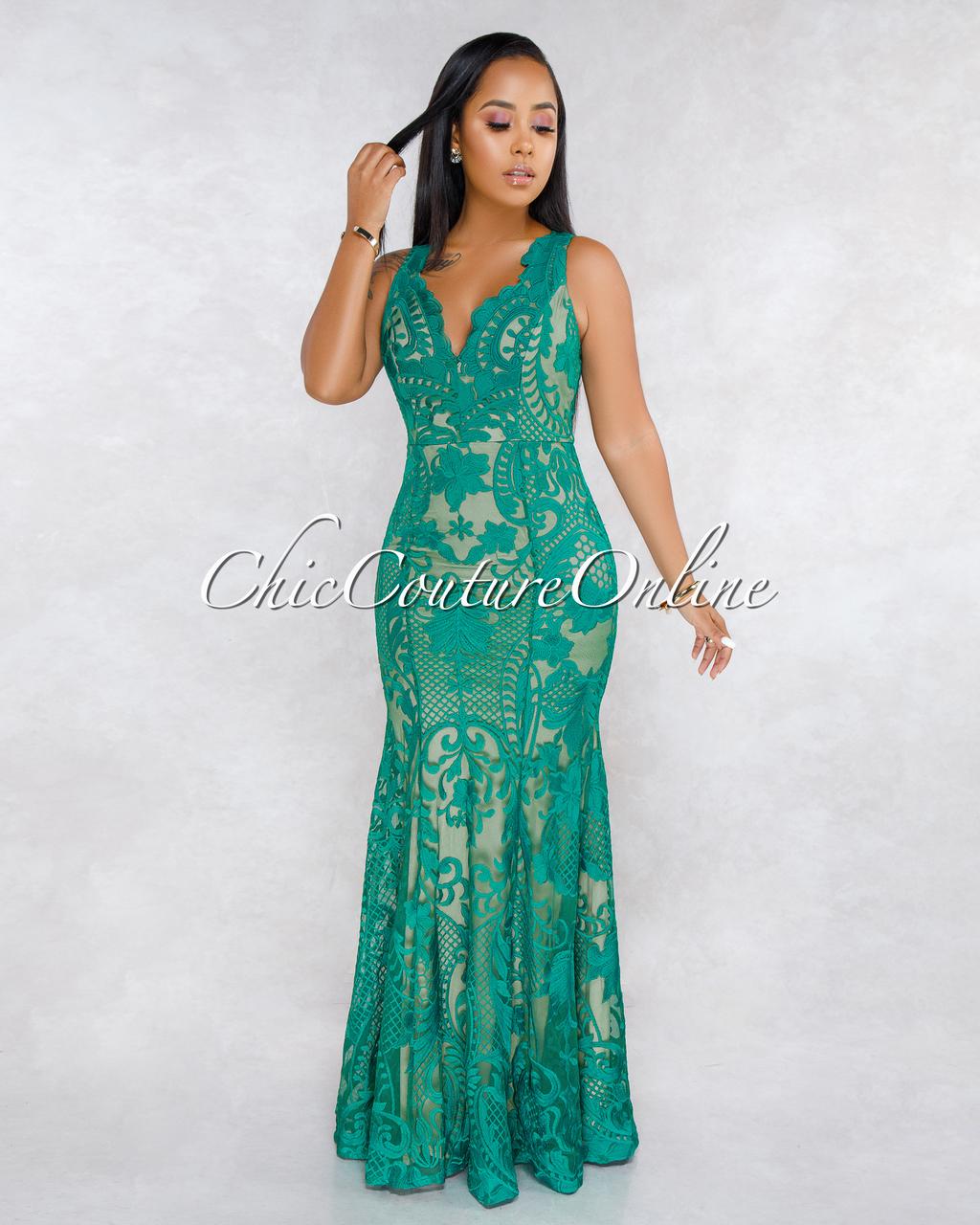 Naomie Green Crochet Nude Illusion Maxi Dress