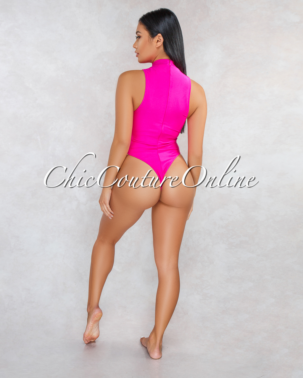 Joely Hot Pink Front Cut-Out Bodysuit
