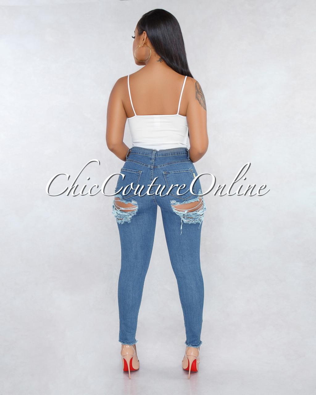 Patsy Blue Denim High Waist Back Distressed Jeans