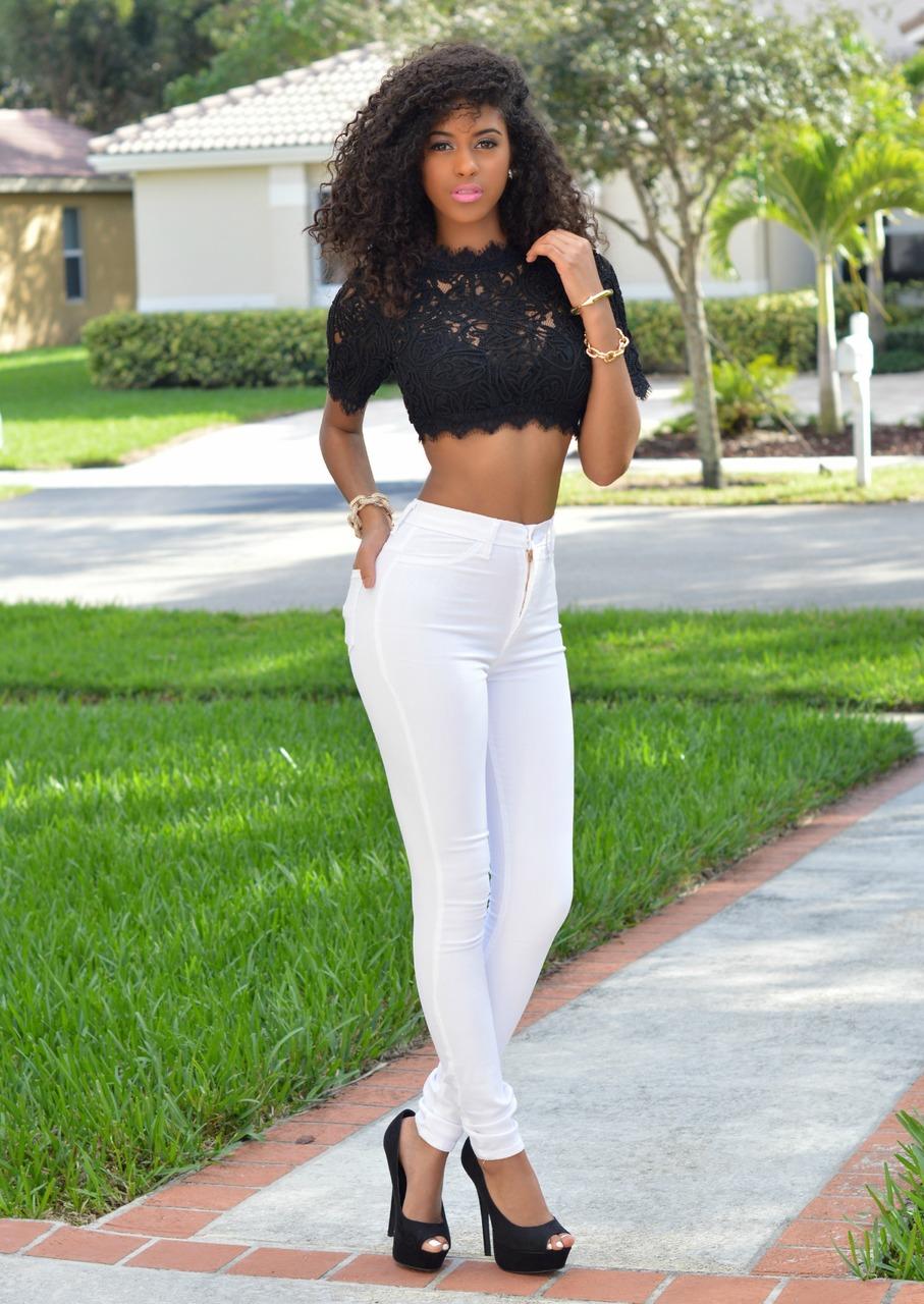 Mara White Denim High-Waist Skinny Jeans