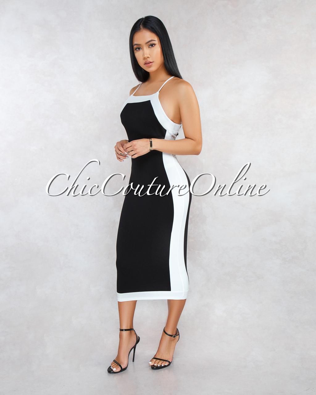 Nabila Black Off-White Hourglass Body-Con Dress