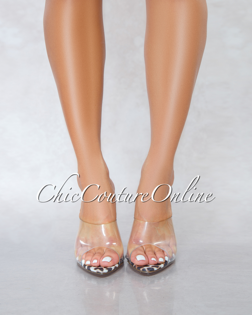 Lustre Leopard Print Sole Clear Upper Pointed Toe Heels