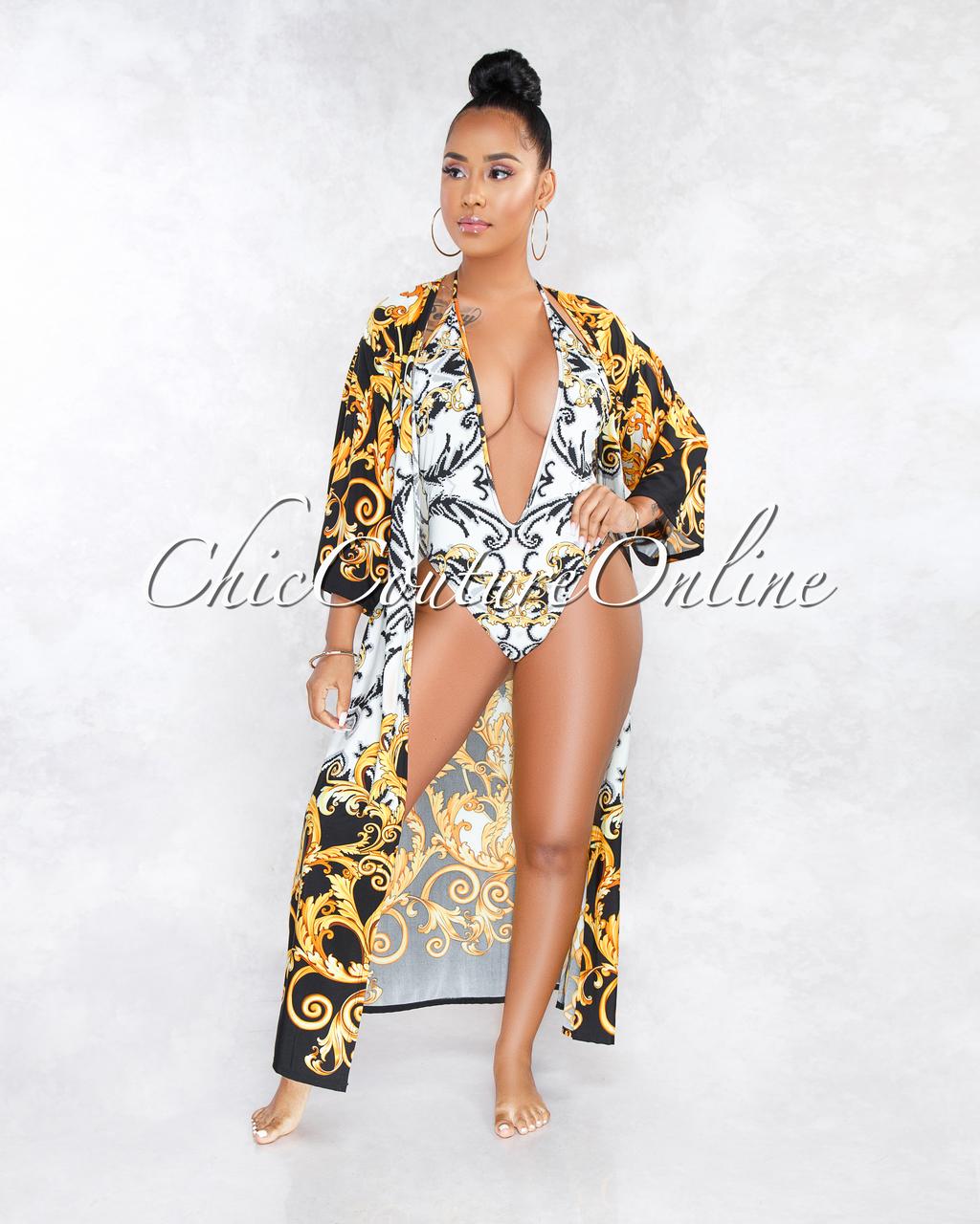 Merrit White Black Gold Print Multi-Way Swimsuit Cover-up Set
