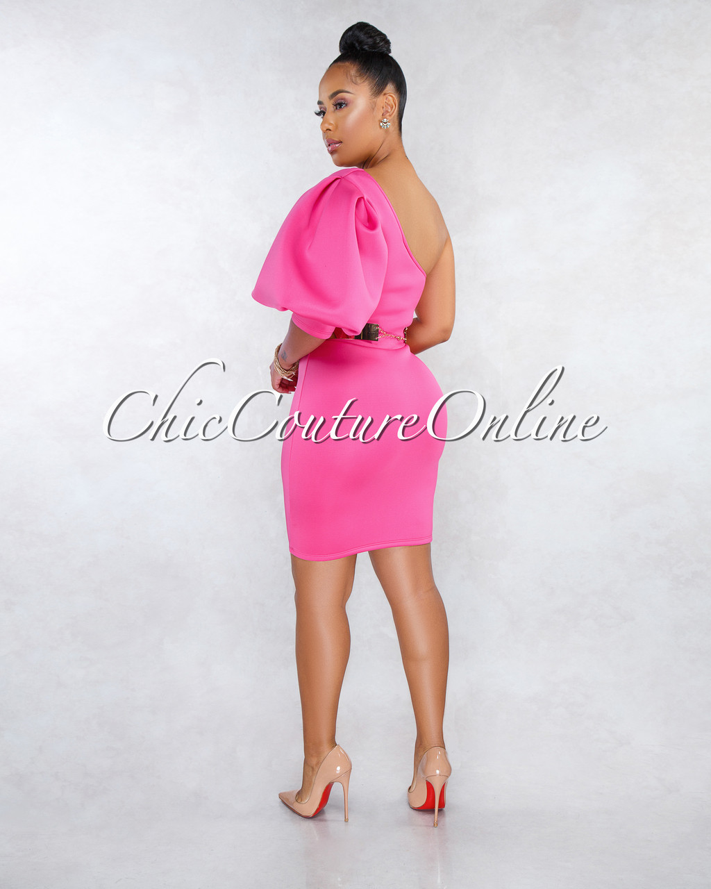 Roshan Fuchsia Over-Sized Single Sleeve Ponti Dress