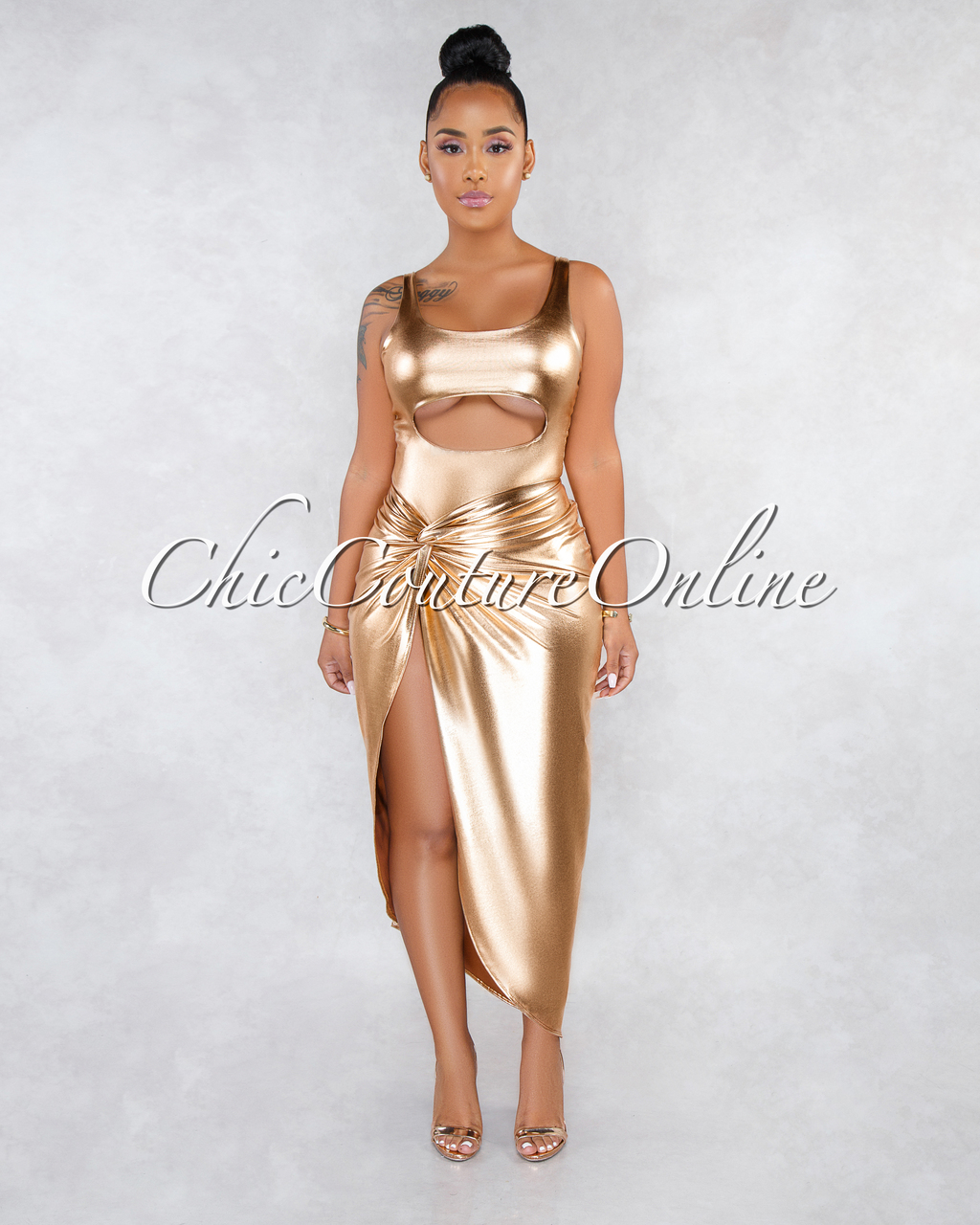 Jordyn Gold Cut-Out Slit Two Piece Set