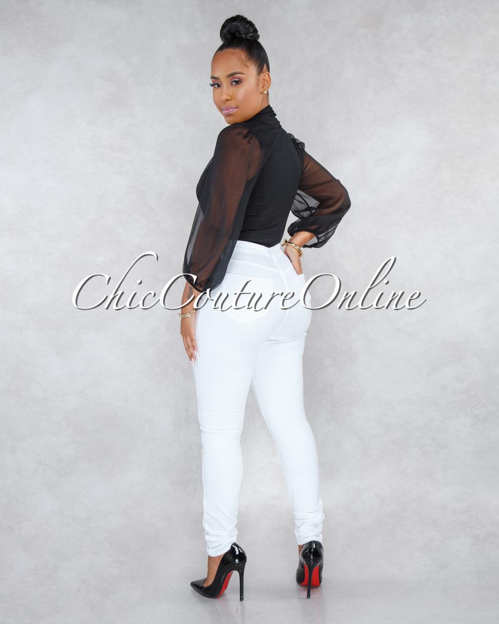 Dariel White Denim High-Waist Skinny Jeans