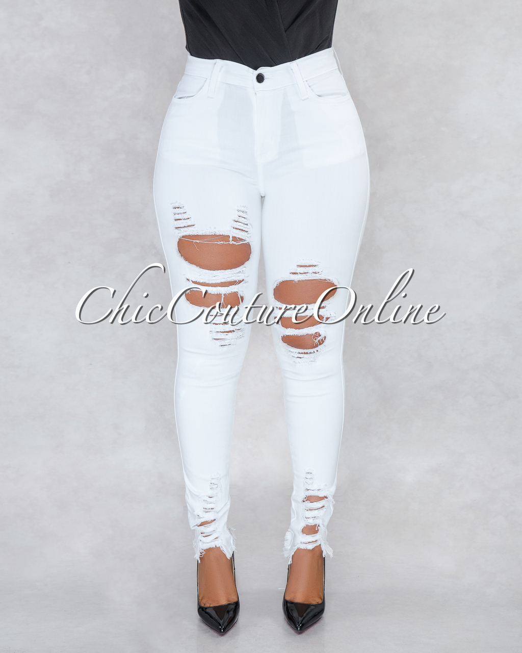 Invite Understand Eastern  Soraya White High Waist Destroyed Jeans