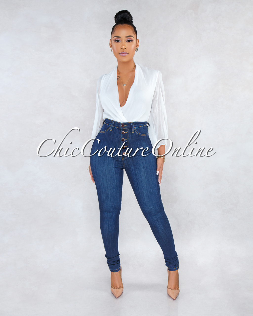 Kiana Dark Denim Button Up High Waist Skinny Jeans