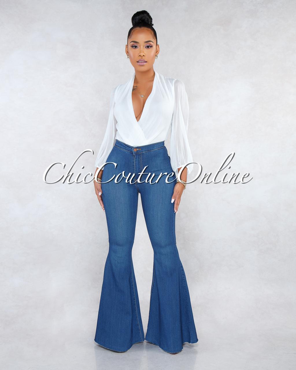 Dalah Blue Denim High Waist Bell Leg Pants