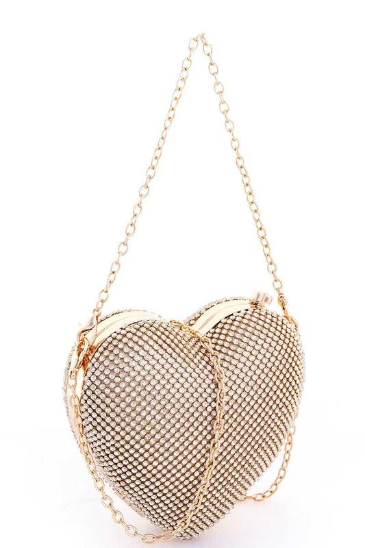 Valentine Gold Heart Shaped Pavé Rhinestones Clutch Bag