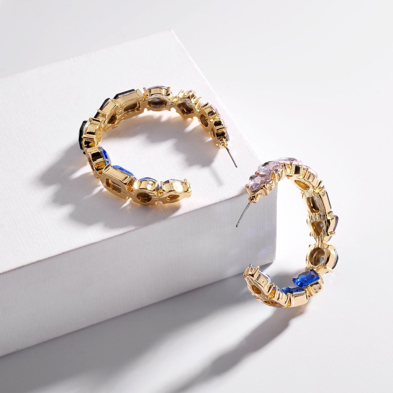 EllaMay Multi Color Stones C Shape Hoop Earrings