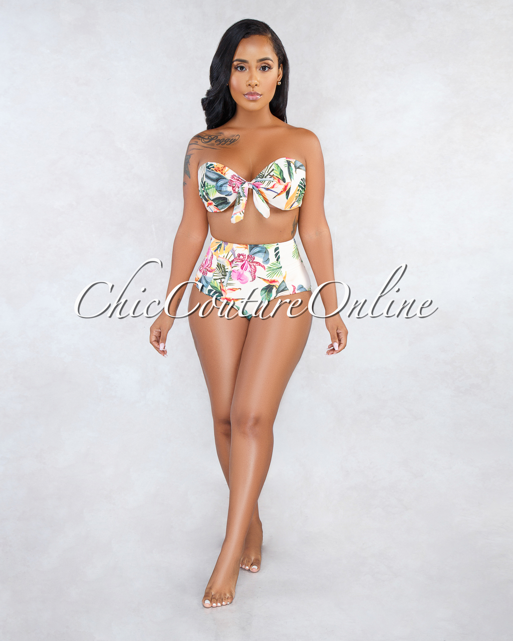 Lesley Beige Floral Print Two Piece Swimsuit