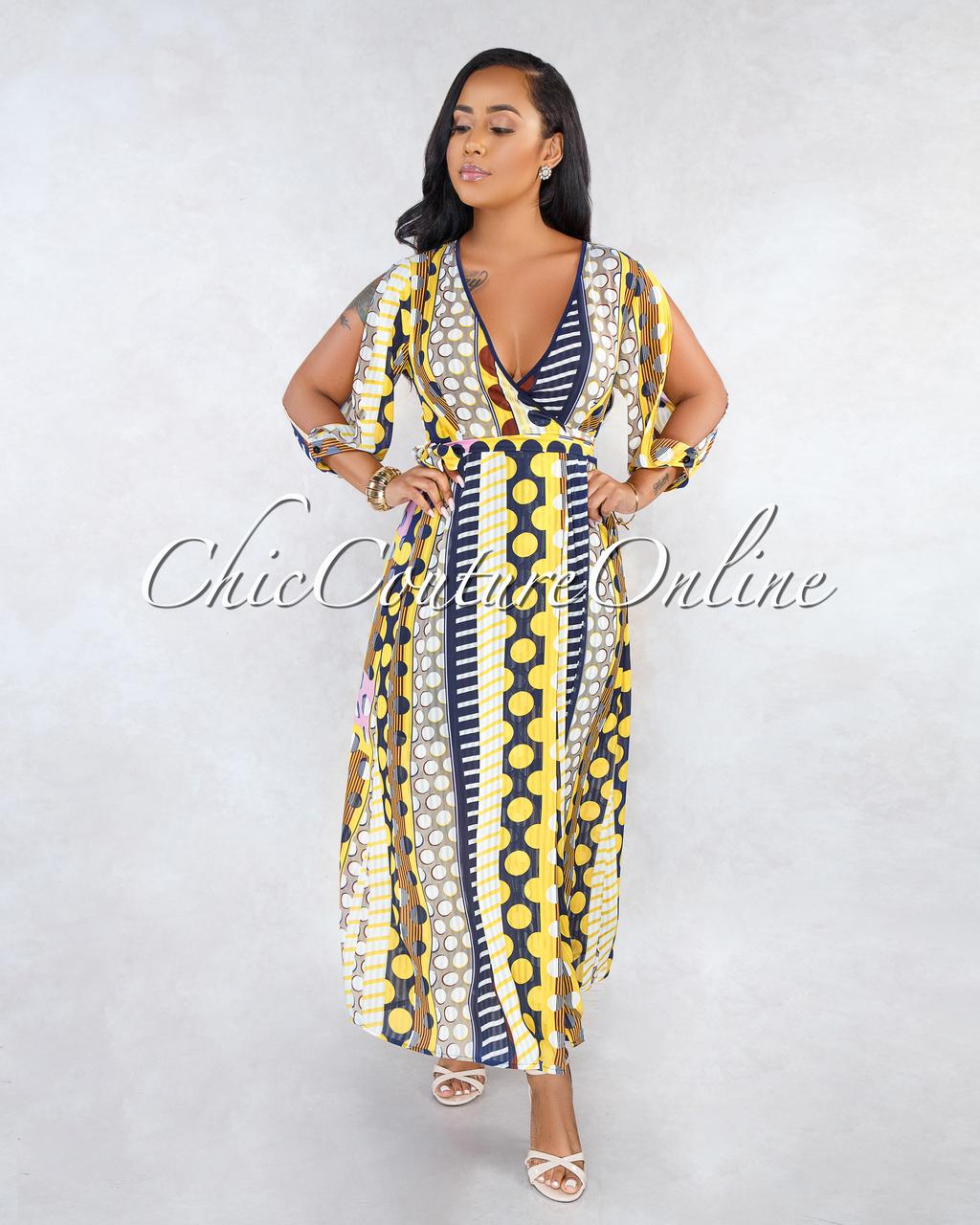 Kaya Navy Yellow Polka Dots Maxi Wrap Dress