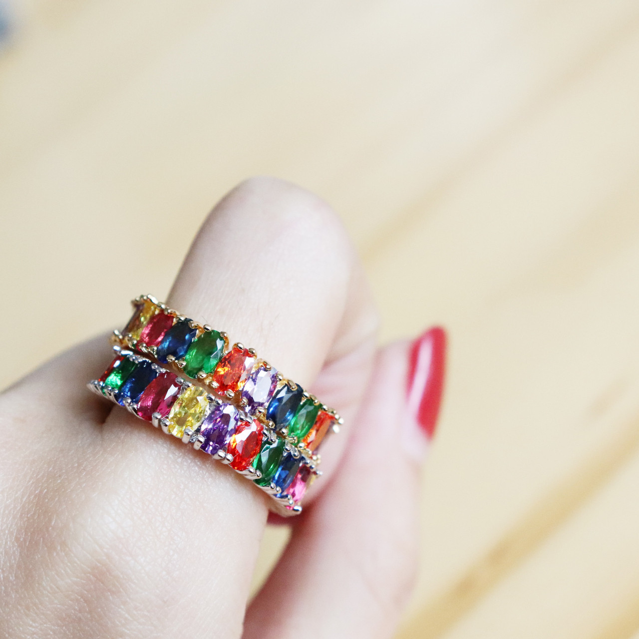Sarla Multi Color Stone Rainbow Ring