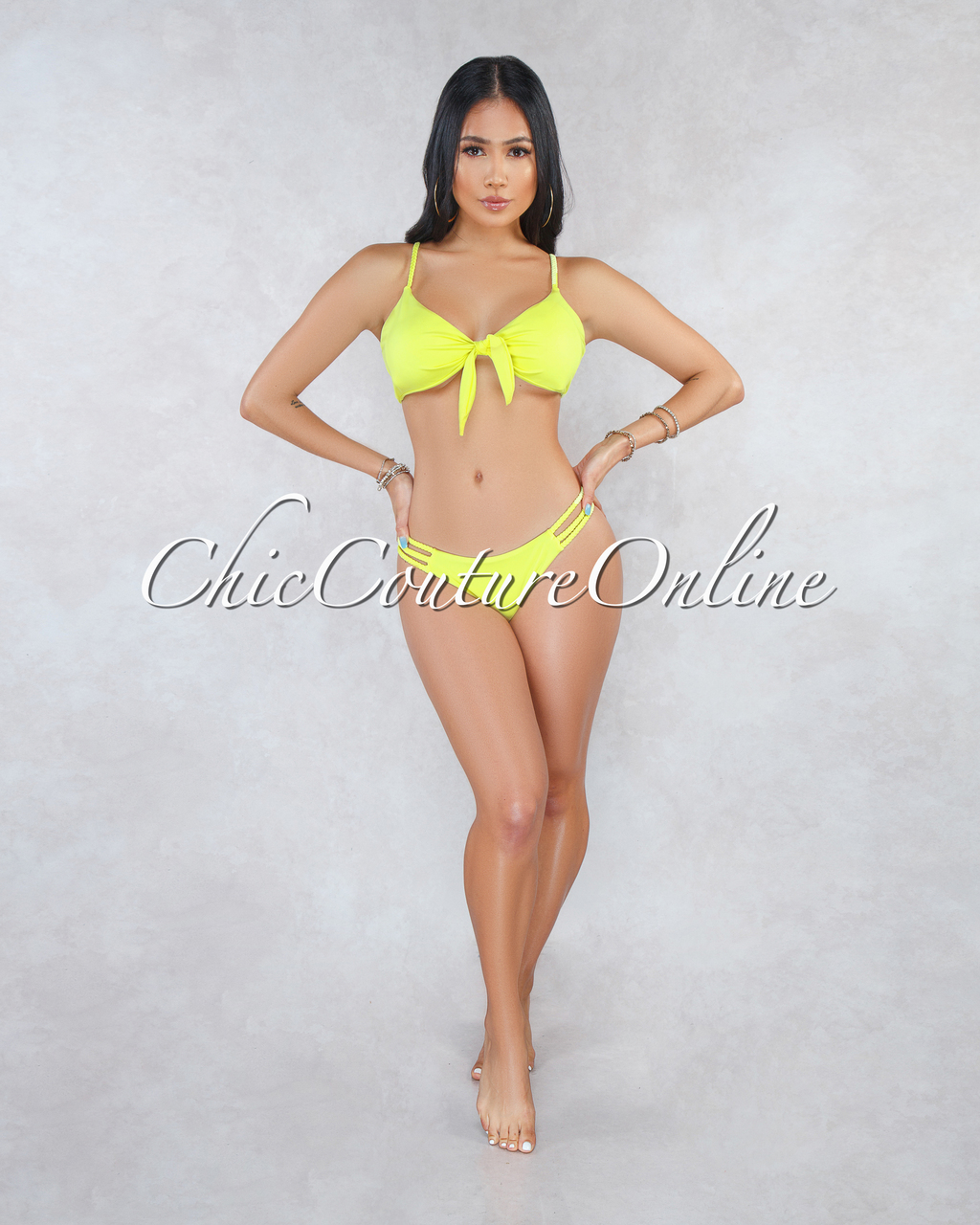 Windsor Yellow Neon Braid Straps Two Piece Swimsuit