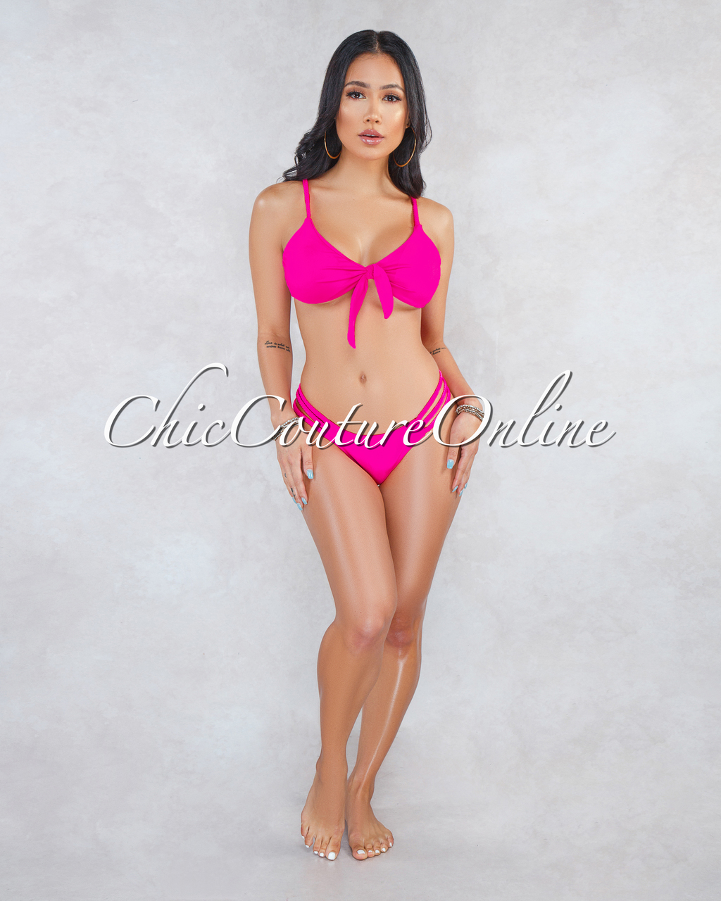 Windsor Hot Pink Braid Straps Two Piece Swimsuit