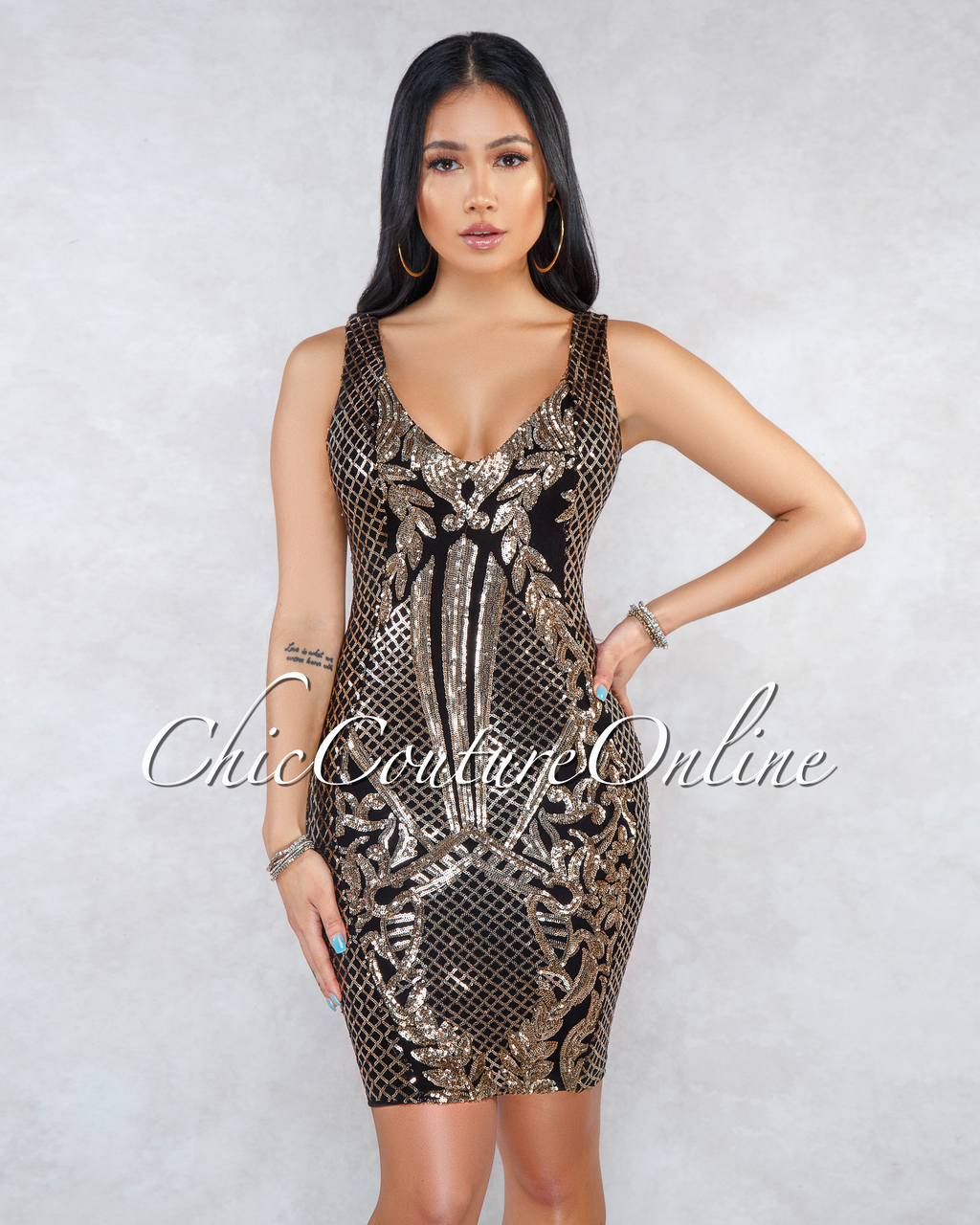 Jalicia Black Gold Sequins V-Neck Mini Dress