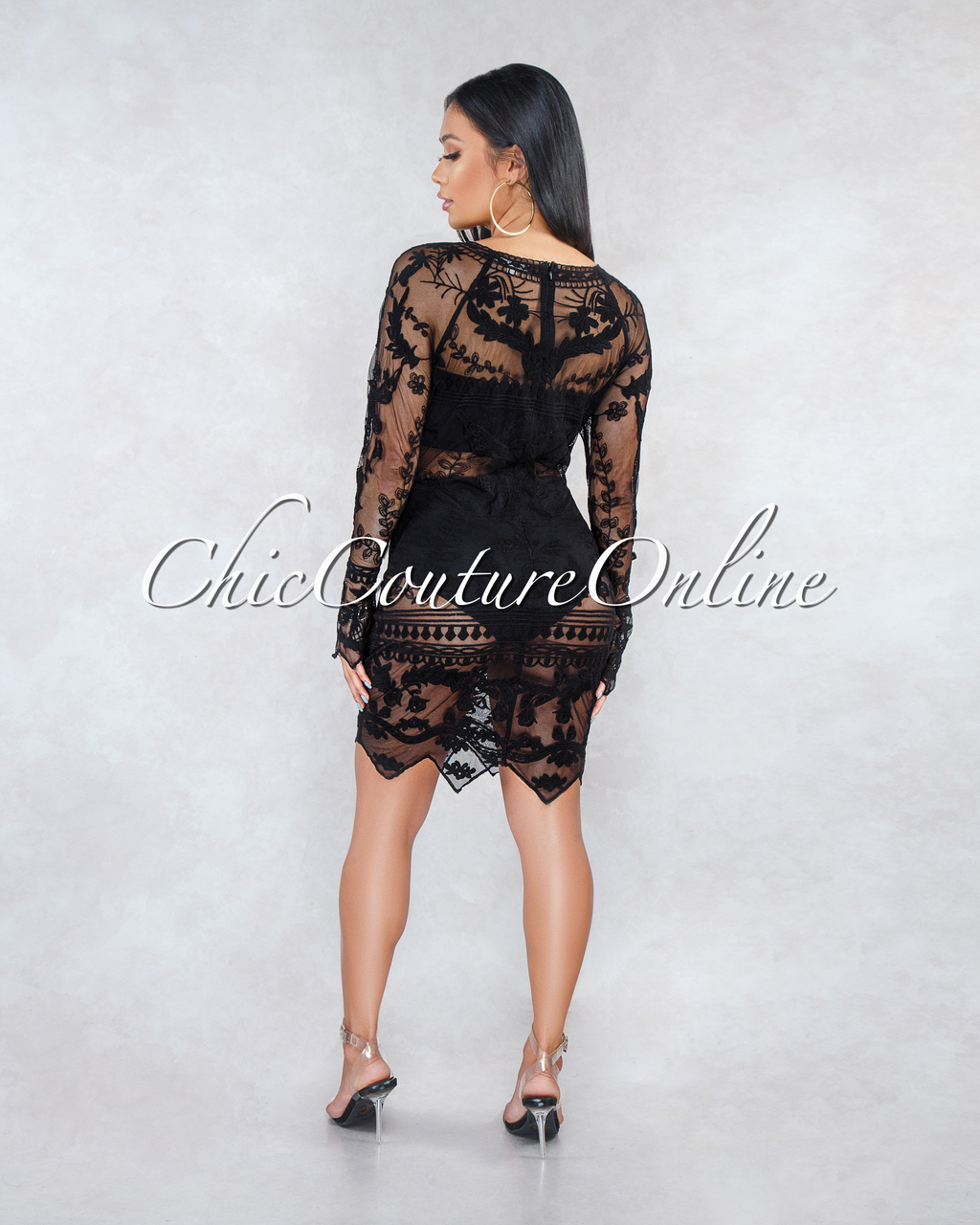 Falone Black Sheer Lace Cover-Up Dress
