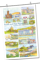 100% Cotton South and Mid Wales tea towel by Emma Ball.
