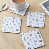 Simply London Coasters Set of 4 - Charcoal & Red
