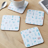 Simply London Coasters Set of 4 - Turquoise & Coral