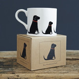 Black Labrador pottery mug with box from Sweet William Designs.