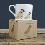 Boxed pottery pug mug from Sweet William Designs.