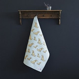 Organic cotton tea towel covered in Golden Retrievers from Sweet William Designs.