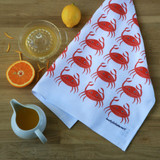 Crab tea towel with design from the original lino print artwork from Lucky Lobster Art in England.