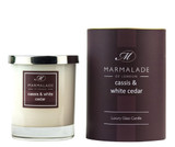 Cassis & White Cedar glass candle from Marmalade of London.