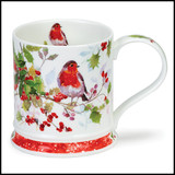 Fine bone china Dunoon Christmas Robins mug with Holly in the Iona shape.