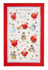 Madeline Floyd 100% Cotton Santa & Snowman  tea towel.