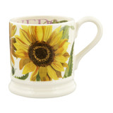 Handmade pottery sunflower half pint mug from Emma Bridgewater.