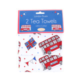 Set of 2 London Buses tea towels from British designer Milly Green.