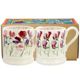 Set of 2 handmade pottery sweet pea half pint mugs from Emma Bridgewater.