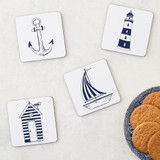 Nautical Beachscapes Set of 4 Coasters from Victoria Eggs.