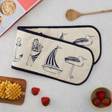 Nautical Beachscape Double Oven Glove from Victoria Eggs.