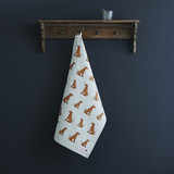 Organic cotton tea towel covered in Vizslas from Sweet William Designs.