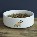 Pottery Pug Dog Bowl from Sweet William Designs.
