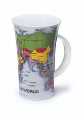 Dunoon Glencoe Map of the World fine bone china mug.
