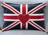 Jan Constantine Union jack navy blue hand-embroidered medium pillow.