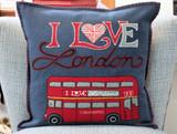 Hand-embroidered I Love London Bus Cushion from British Designer Jan Constantine.