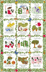 Gardeners Calendar Ulster Weavers 100% cotton Tea towel.
