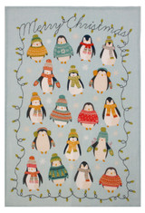 Penguin Lights 100% linen tea towel from Ulster Weavers.