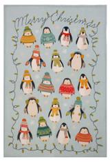 Penguin Lights 100% linen tea towel from Ulster Weavers.